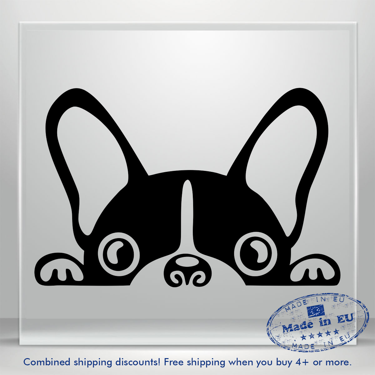 French Bulldog Puppy Car Sticker White Vinyl Decal choose size 4/'/' 6/'/' 10/'/' 16/'/'