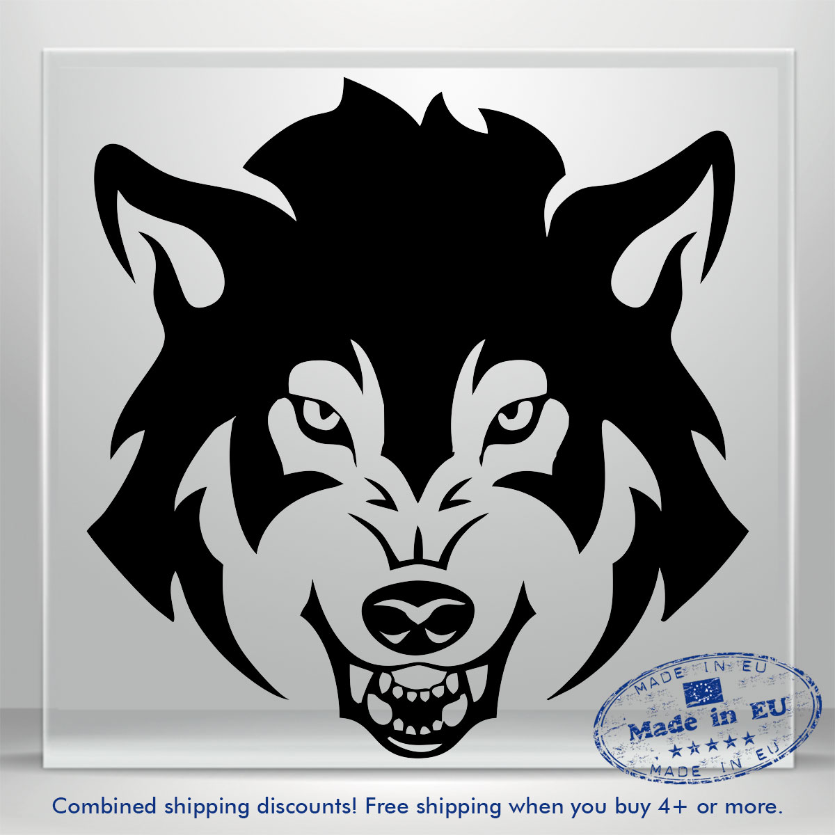 Details about wolf dog scary face jdm auto car bumper window vinyl decal sticker laptop tablet