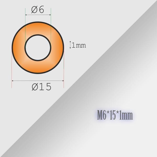 10x6-15-1mm Metric Copper Flat Ring Oil Drain Plug Crush Washer Gaskets