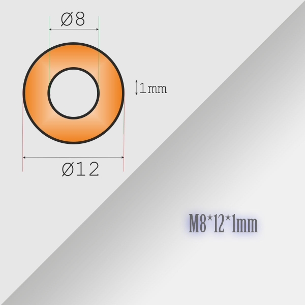 10x8-12-1mm Metric Copper Flat Ring Oil Drain Plug Crush Washer Gasket