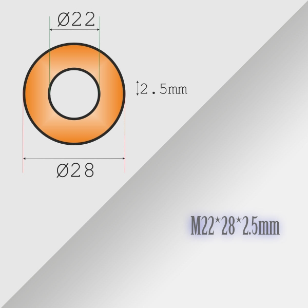 2x22-28-2,5mm Metric Copper Flat Ring Oil Drain Plug Crush Washer Gasket