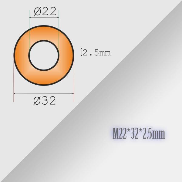 2x22-32-2,5mm Metric Copper Flat Ring Oil Drain Plug Crush Washer Gasket