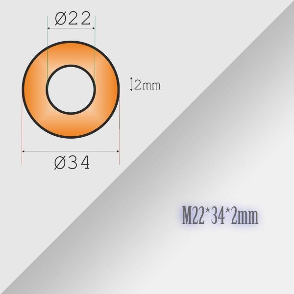 2x22-34-2mm Metric Copper Flat Ring Oil Drain Plug Crush Washer Gasket