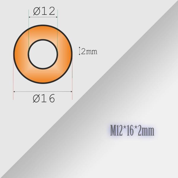 5x12-16-2mm Metric Copper Flat Ring Oil Drain Plug Crush Washer Gasket