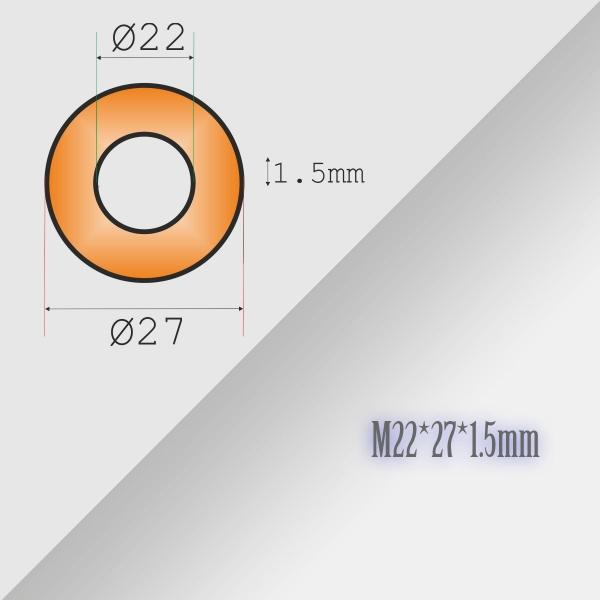5x22-27-1,5mm Metric Copper Flat Ring Oil Drain Plug Crush Washer Gasket