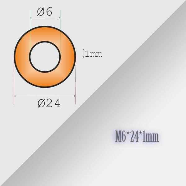 5x6-24-1mm Metric Copper Flat Ring Oil Drain Plug Crush Washer Gasket