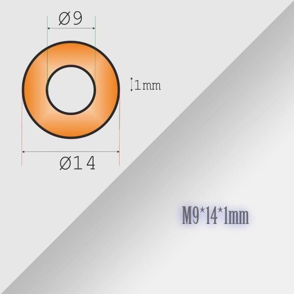 5x9-14-1mm Metric Copper Flat Ring Oil Drain Plug Crush Washer Gasket