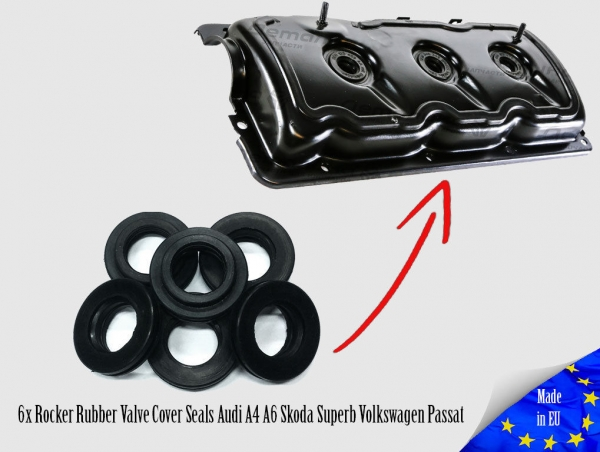 6x Rocker Rubber Valve Cover Seals Audi A4 A6 Skoda Superb Volkswagen Passat