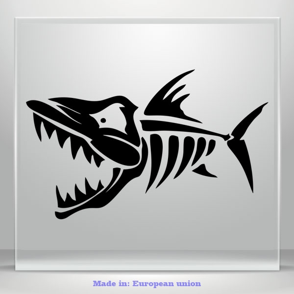 Angry Fish Vinyl Decal Sticker Scary JDM Auto Car Truck Bumper Window Mirror 2x