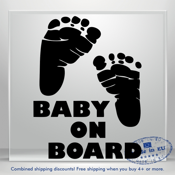 Baby On Board Steps Vinyl Decal Sticker Funny JDM Auto Car Bumper Window Truck