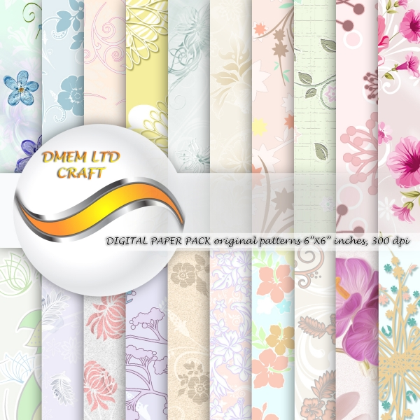 Flower Watercolor Scrapbook Paper Pack Floral Design Background Pattern Digital