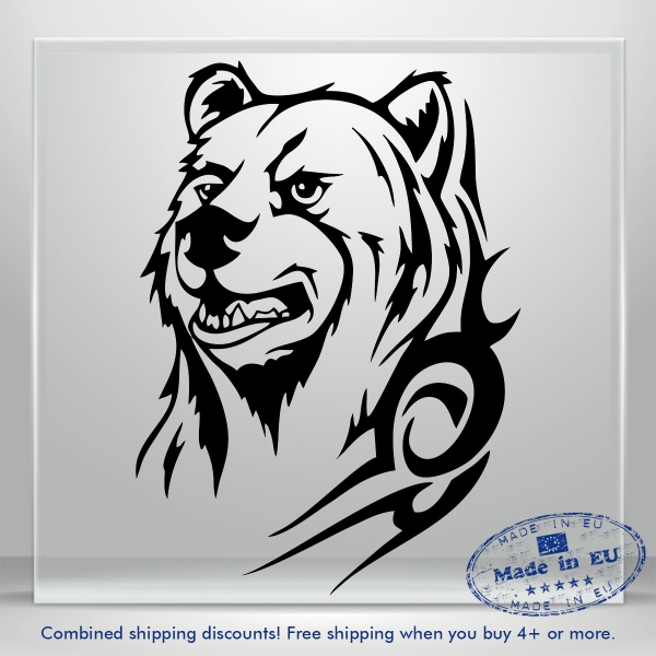 Grizzly Bear Decals Black Car Bumper Window Vinyl Decal Sticker JDM Auto Russian