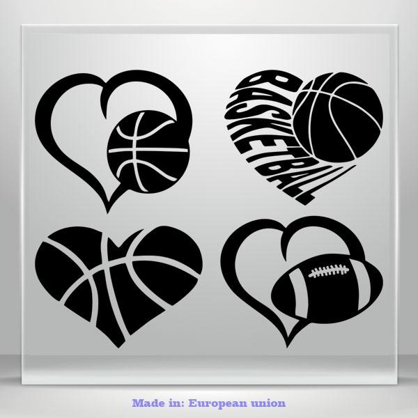I Love BasketBall Football Heart Vinyl Decal Sticker Auto Car Bumper Window 4in1
