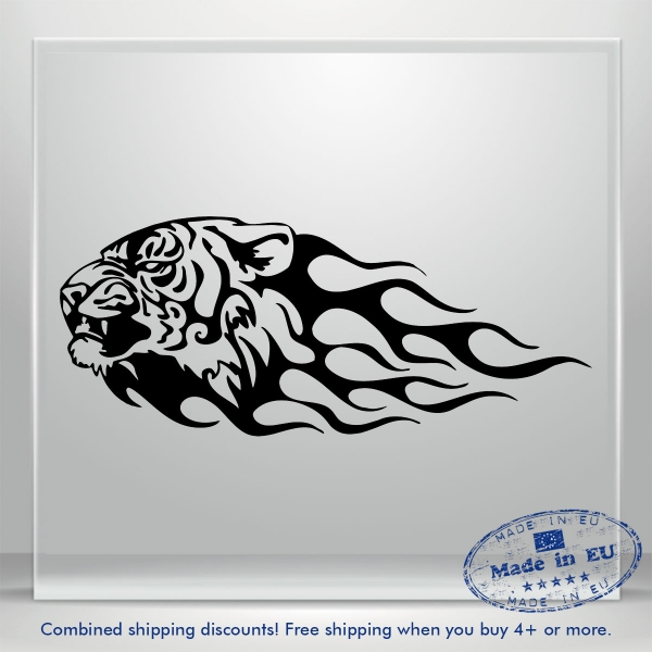 Lion Head Fire Tribal Vinyl Decal Sticker Funny JDM Auto Car Bumper Window Truck