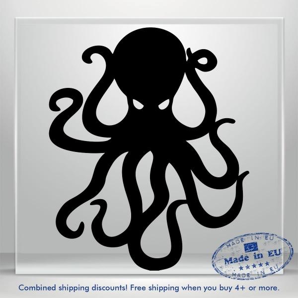 Octopus Wall Decals Kraken Funny Boat Car Bumper Window Vinyl Sticker Art Decor