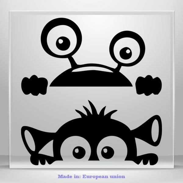 Peeking Monsters Funny Cute Car Sticker Vinyl Decals Waterproof Tablet Laptop 2x
