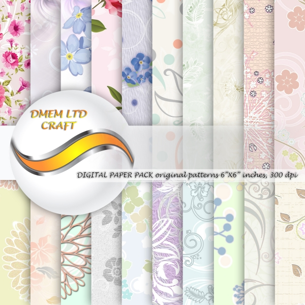 Scrapbook Flower Watercolor Paper Pack Floral Design Background Pattern Digital