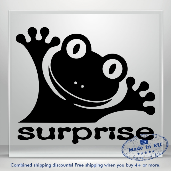 Surprise Frog Decal Funny Auto Car Bumper Window Vinyl Sticker Banner Laptop