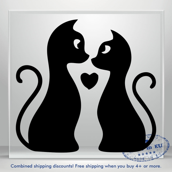 Sweet Kitty Vinyl Decal Sticker Love Heart Cat JDM Auto Car Bumper Window Laptop
