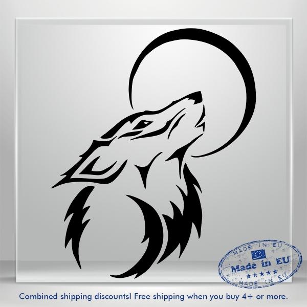 Wolf Moon Dog Funny JDM Auto Car Bumper Window Vinyl Decal Sticker Truck Tablet